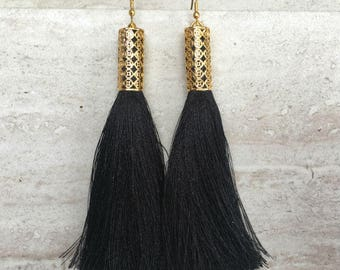 Monroe Tassel Earrings,Long Black Silk Tassel  Earrings,Gold Filigree Tassel Earrings,Boho Long Black Earrings,Filigree Earrings,Friend Gift
