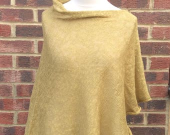 Summer  Linen Knit Beach Poncho with draped boat neck .Cruise and Resort Linen Wrap  . Plus Size  Tunic. Mustard Linen Poncho . Mothers Day