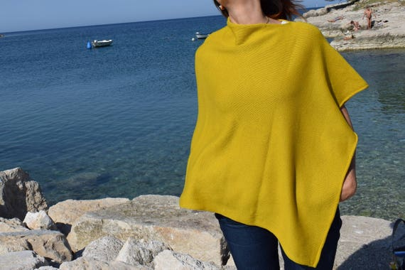 Boat Neck Pure Wool Knit Light Poncho .Plus Size Knit Mustard Cape . Womens Knit Wrap Poncho . Mothers day gift . Easter . Spring Party