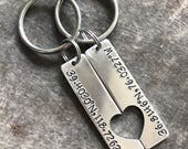 Custom Keychain Set - Aluminum with Heart Cutout - Personalized - Hand Stamped Coordinates // Date // Names - Long Distance - Roman Numerals