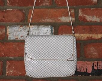 70s White Metal Mesh  Disco purse Hand Bag Shoulder strap