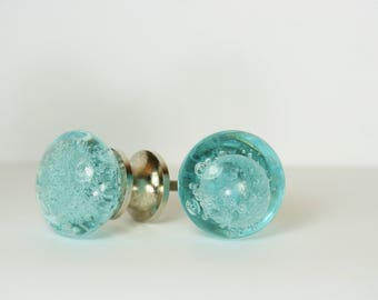 blue glass drawer knob drawer pull blue bubbles drawer pull replacement furniture knob turquoise knob blue