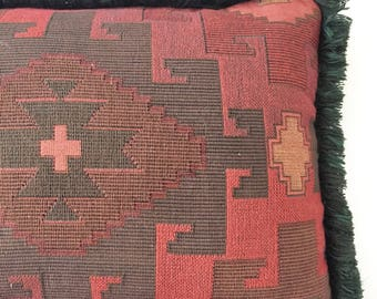 Vintage 80s Southwestern Fringe Accent Pillow Burgandy and Hunter Green