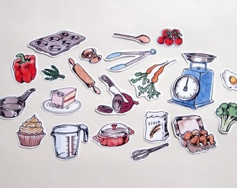 sticker set- baking, cooking, food, kitchen