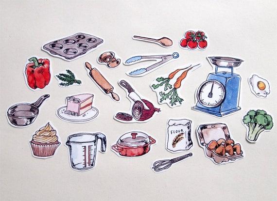 Sticker set baking cooking food kitchen journal art for Kitchen craft baking supplies