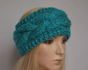 Knit Headband Head Wrap Ear Warmer Cable Knit Turquoise Flecked Wool Blend