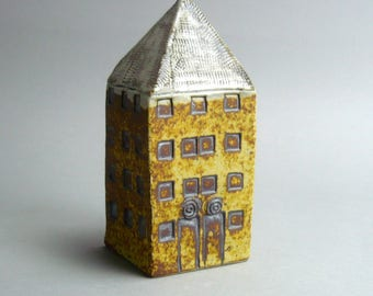 Small House ,Miniature  House, Yellow Tower House, Gift for An Architect , Architecture , Ceramic Sculpture,Tall Building