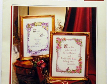 """Counted Cross Stitch Patterns booklet """"SWeet Thoughts"""" wedding sampler 1990"""