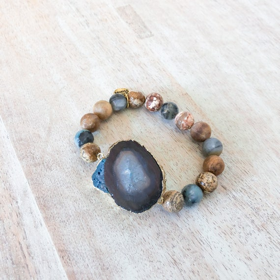 Navy Blue and Jasper Beaded Bracelet