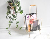 Magazine rack, newspaper rack, magazine holder, news rack, book rack, boho decor, rustic decor, magazine storage, newspaper storage