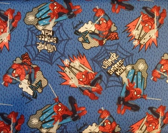 Spiderman Fabric, Spiderman Web Swinging, Ultimate Spiderman, Spiderman Quilting Cotton, Spiderman on Blue, Marvel Comics, By the Half Yard