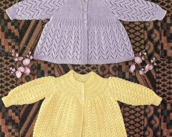 PDF, Instant Download, Vintage Knitting Pattern, Baby Matinee Coats, Cardigan, QK/DK Wool, 19 Inch Chest
