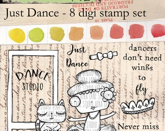 Just Dance - 8 digi stamp set with whimsical dancer and cat in png and jpg files - ready for instant download