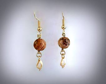 Picture Jasper Earrings Brown Jasper Earrings Brown Stone Earrings Gemstone Earrings Gemstone Jewelry Gold Leaf Earrings Earthy Earrings