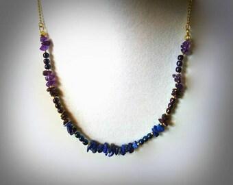 blue lapis necklace amethyst gemstone necklace lapis gemstone necklace purple amethyst necklace blue lapis and gold necklace stone necklace