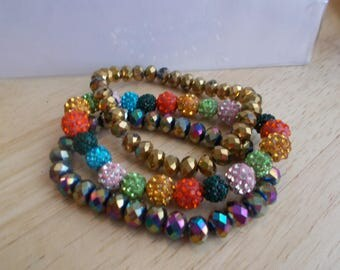 3 Stretch Bangle Bracelets made with Gold and Multi Color Crystal Beads and Metallic Disco Beads