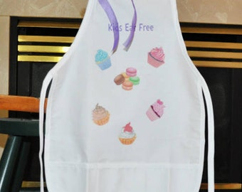 Personalized Kids Apron, White Apron With Desserts, Kids Eat Free Apron, Childs Apron