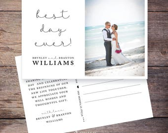 Best Day Ever Wedding Photo Thank You postcard, Printable Wedding Thank You, Photo thank you cards, personalized thank you –Brynley