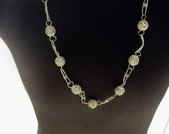 Silver Filigree Ball Necklace Single Strand Handcrafted Ethnic Boho Vintage Jewelry Gift