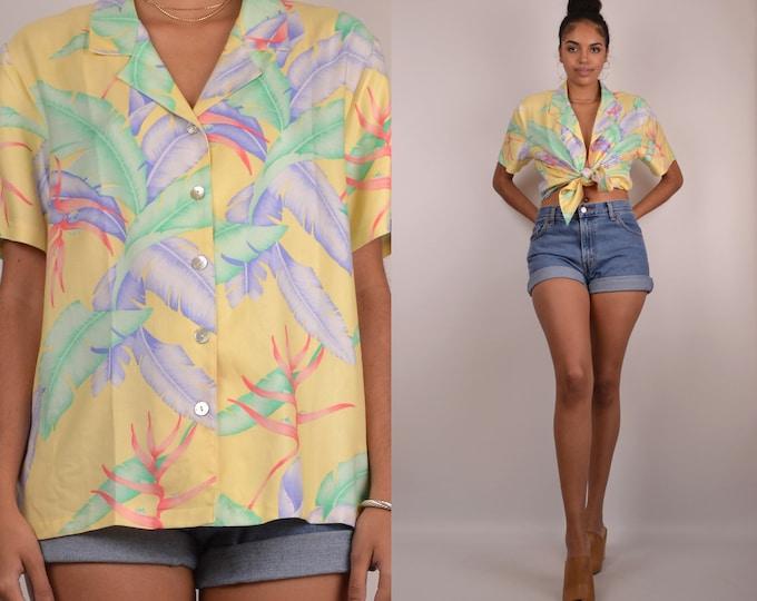 90's Silk Tropical Shirt button down vintage