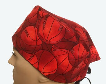Unisex Scrub Cap - Basketball Balls Group Sports Scrub Hat - scrub cap - Nurses Scrub Hat - Scrub Tech Scrub hat - Surgeons Hat