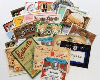 30 Original Wine, Liqueur and Spirits Labels, All Different, Vintage