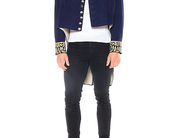Wool Navy Blue Military Jacket With Tails And Gold Metallic Embroidery
