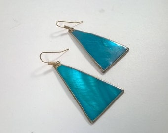 1980s Triangle Earrings - Bright Turquoise Long Dangle - Pierced Fashion Jewelry