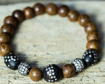 Mala Bracelet, Wood Bead Bracelet, Crystal Bracelet, Vintage Bracelet, Boho Jewelry, Beaded Bracelet, Stretchy Bracelet, Tribal Bracelet