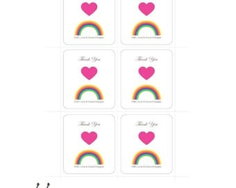 Print Thank You Notes-Gratitude Cards-Rainbow-Heart-Faith Love and Good Energies-Gift Tags-Printable Greeting Cards-INSTANT DOWNLOAD