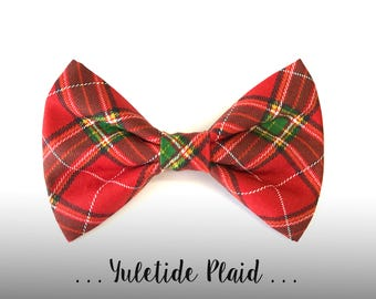 Christmas Plaid Dog Bow Tie; Red and Green Dog Collar Bow Tie: Yuletide Plaid