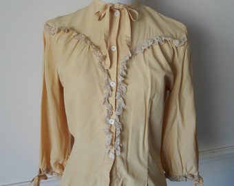 Vintage 40s Buttercup Yellow Lace Trim Blouse