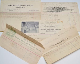 vintage ephemera pack: antique receipts with letter heads, 1900-1910, lot of 5 pieces