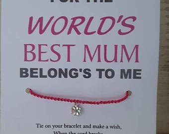 World's Best Mum Wish Bracelet (updated version)