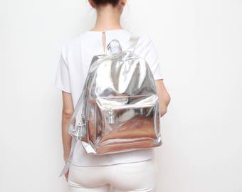 NEW! Silver vegan leather backpack. Large shoulder bag. Shopping bag. School bag. Everyday bag. Silver mirror leather backpack. / TRAVELER