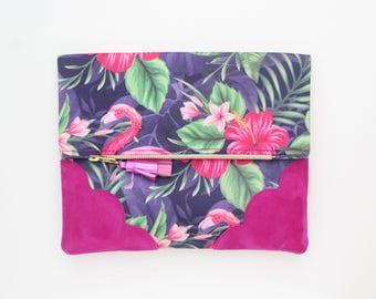 Flower clutch bag. Fold over clutch. Leather handbag. Statement purse. Tropical print fabric. Purple pink leather handbag /TROPICANA 28
