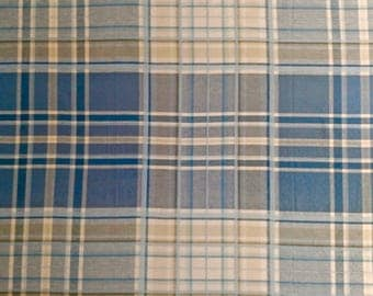 Blue and Beige Plaid Tablecloth 63 inches SQUARE