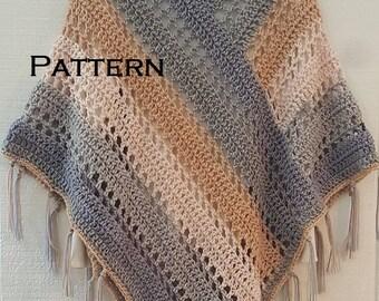 Crochet PATTERN Easy Weekend Poncho with Fringe Bernat Pop Yarn Cake Poncho
