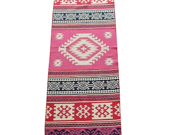 Long Kilim Runner - New Reversible Long Turkish Kilim Runner Rug in Pink, Blue and Red - 253cm