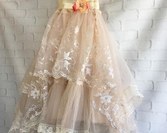 ivory cream and tan embroidered organza short boho wedding dress by mermaid miss Kristin