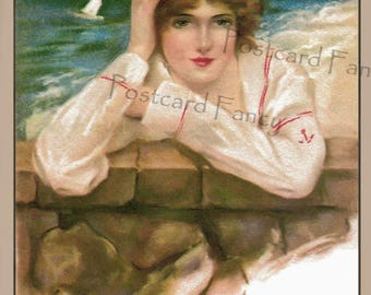 Beautiful Girl Waiting by the Sea, Vintage Postcard Illustration, Instant DIGITAL Download, Printable Coastal Image