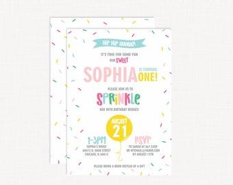 Sprinkles Birthday Invitation | Sprinkle Party | Donut Birthday Invitation | Ice Cream Party | Sweet to be One Invitation | Sprinkle Party