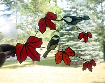 Stained Glass Black Capped Chickadee Pair on Red Maple Branch Sun Catcher, Wall Decor, Stained Glass Birds, Glass Art