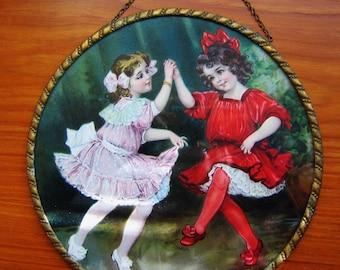 Antique FLUE COVER 1910 EDWARDIAN Flue Cover Two Little Girls Dancing Germany Original Collectible German Flue Cover Vintage Gift
