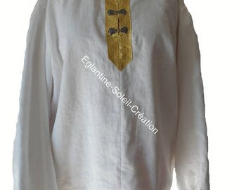Shirt, pirate, medieval tunic, linen for men