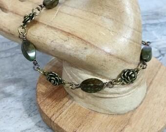Jasper Beaded Chain Bracelet, Linked Chain Bracelet, Beaded Anklet for Women, Ankle Bracelet, Birthday, For Her, Gift