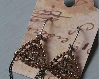 Triangle filagree earrings
