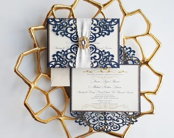 Elegant wedding invitation, wedding invitation laser cut in navy blue and gold, Wedding invite navy blue {Hyacint design - Sku: HyaNad01}