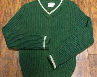 Vintage Retro 1950s 50s Mid Century Towne & King Atomic V-Neck Varsity School V-Neck Wool Hipster Cardigan Sweater 40
