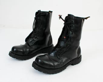 Man Goth Boots / Size 42 Boots / STEEL Boots / Black Leather Boots / Lace Up Boots / Punk Boots / Vintage Boots / Leather Boots